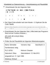 Verfahren zur Datensicherung - Verschlüsselung Arbeitsblatt