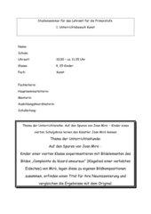 Stundenentwurf : Auf den Spuren eines Künstlers: Neuinszenierung eines Bildes von Miro