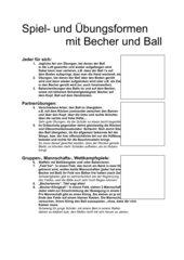 Spiel und Übungsformen mit Becher und Ball