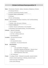 Unterrichtsschwerpunkte  Klasse 8 Hauptschule