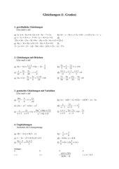 Arbeitsblatt Gleichungen 1.Grades