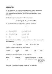 Kinematik  - gleichförmige Bewegung