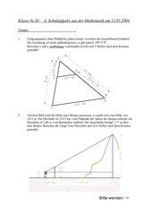 4. Schulaufgabe 9. Klasse nichttechnischer Zweig mit Lösungen