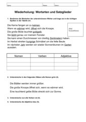 Grammatiktest zu Wortarten und Satzgliedern; 3. Klasse
