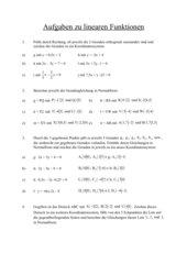Aufgaben zu linearen Funtionen
