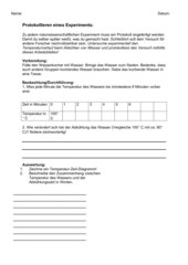 Arbeitsblatt: Protokollieren eines Experiments (Temperatur)