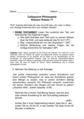 Klausur Klasse 11 Colloquium Sophisten/Sokrates/Erkenntnis