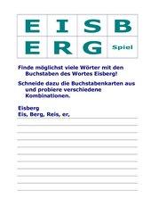 Eisberg-Spiel - neue Wörter aus den Buchstaben des Wortes Eisberg bilden