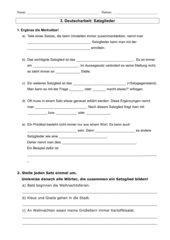 Satzglieder Deutscharbeit