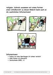 Unfallbericht: Arbeitsauftrag mit Bildern und Hintergrundinformationen