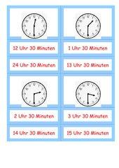 Halbe und dreiviertel Stunden erkennen - Legematerial