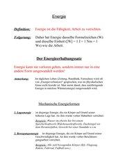 Komplette Unterrichtsvorbereitung zu Energie und Wirkungsgrad