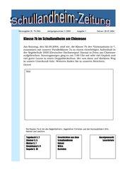 Projekt Schullandheim-Zeitung Deutsch Klasse 7 / Gymnasium