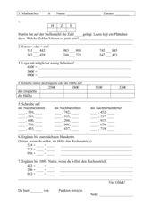 LZK Klasse 3, Mathematik, Erweiterung Zahlenraum bis 1000