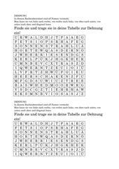 Dehnung: Wörterrätsel /Suchsel) und Tabelle