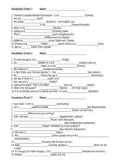 Vocabulary Checks Klasse 5