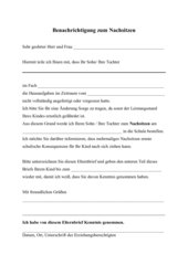 Elternbrief zum Nachsitzen