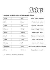 Wörter nach dem Alphabet (ABC) ordnen
