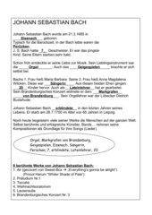 Arbeitsblatt zu J.S. Bach, Lückentext mit Lösungen