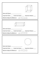 Arbeitsblatt zu geometrischen Körpern! 3.+4. Schuljahr