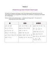 Lernen an Stationen Lösen linearer Gleichungssysteme Klasse 8 Realschule
