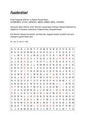 Gitterrätsel Wortarten