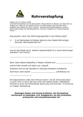 Rohrverstopfung - Arbeitsblatt