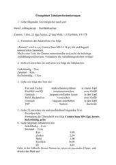 Übungsblatt Tabulatorformatierungen