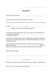 Elternbrief (Zuspätkommen)
