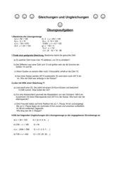 Gleichungen und Ungleichungen Übungen RS Kl. 5