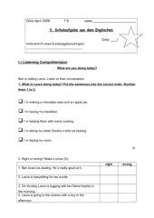 Schulaufgabe 7,Klasse (Red Line 3, Unit 3-4)