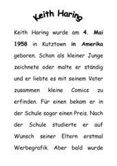 Kurze Informationstexte über Keith Haring