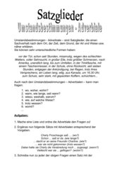 Satzglieder - Umstandsbestimmungen