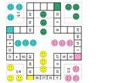 Einmaleinsspielpläne in Farbe: Nicht ärgern beim Würfeln