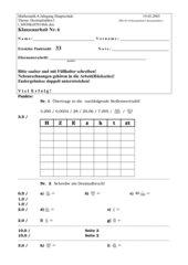 Klassenarbeit Brüche - Dezimalbrüche incl. Lösungen