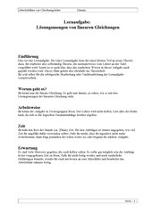 Lernaufgabe: Lösungsmengen von linearen Gleichungen