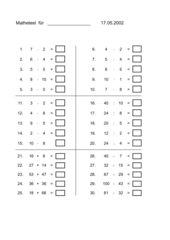 Mathetest 2. Schuljahr