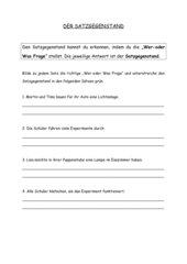 Satzglieder - der Satzgegenstand - bestimmen mit einer Frage