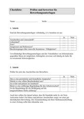 Checkliste zur Prüfung von Bewerbungsunterlagen