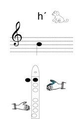 Griffbild für Blockflöte Ton h'