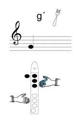 Griffbild für Blockflöte Ton g'