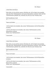 Zustimmung zur Telefonliste
