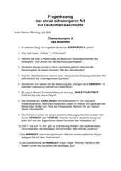 32 schwierige Fragen zur deutschen Geschichte des Mittelalters