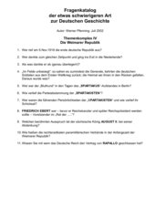 11 schwierige Fragen zur Weimarer Republik
