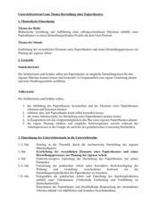 Unterrichtsentwurf Papiertheater  zum Thema Märchen