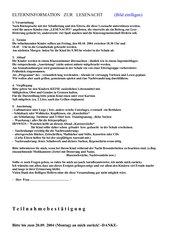 Elternbrief zur Lesenacht Ende Klasse 2