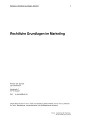 Marketing - Rechtliche Grundlagen