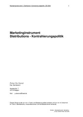Marketinginstrument - Distribution- Kontrahierungspolitik