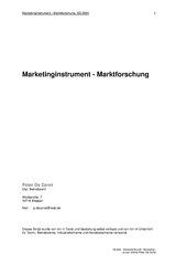 Marketinginstrument - Marktforschung