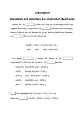 Chemische Umsatzberechnungen